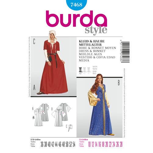 Burda Style Pattern 7468 Dress & Bonnet Middle Ages