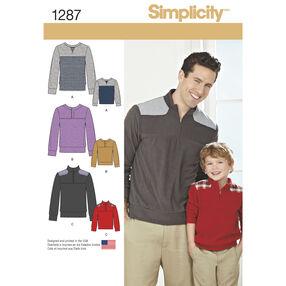 Simplicity Pattern 1287 Boys' and Men's Knit Pullover Shirts with Variations