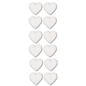 White Dimensional Heart Stickers_M921109