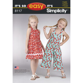 Simplicity Pattern 8117 It's So Easy Dress and Jumpsuit for Children