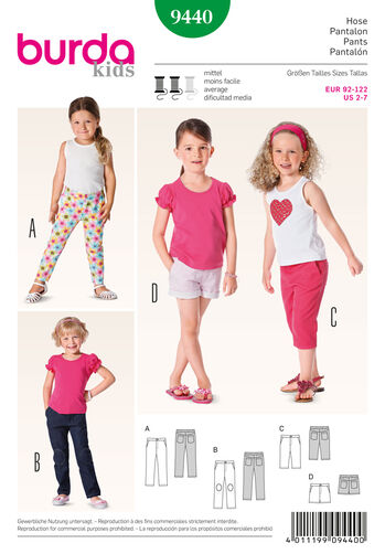 Burda Style Pattern 9440 Toddlers