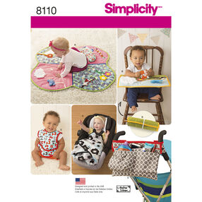 Simplicity Pattern 8110 Babies' Play Mats, Stroller Accessories, and Bibs