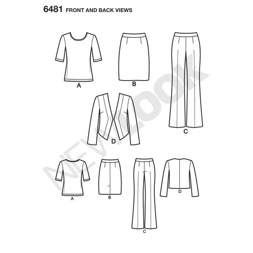 New Look Pattern 6481 Misses' Skirt, Pants, Jacket and