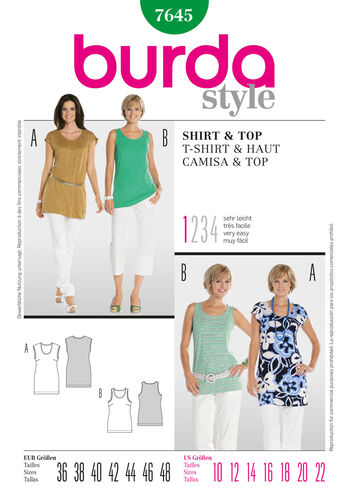 Burda Style Pattern 7645 T-Shirt & Top