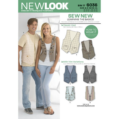 New Look Pattern 6036 Misses' & Men's Vests
