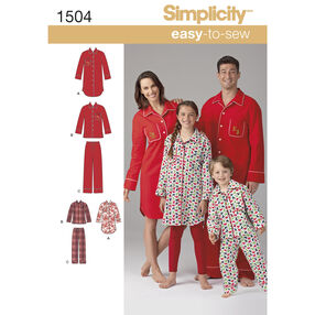 Simplicity Pattern 1504 Child's, Teens' and Adults' Loungewear