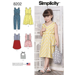 Pattern 8202 Children's Jumpsuits, Dresses and Bag