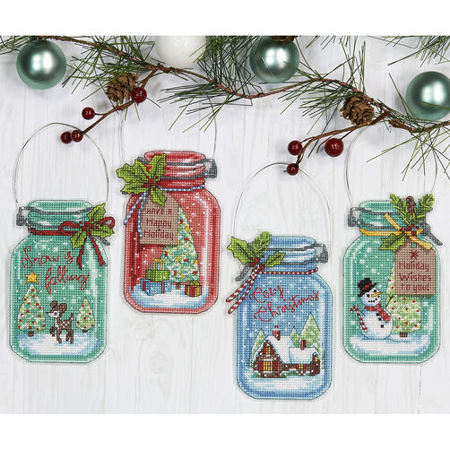 Christmas Jar Ornaments Counted Cross Stitch 70 08964