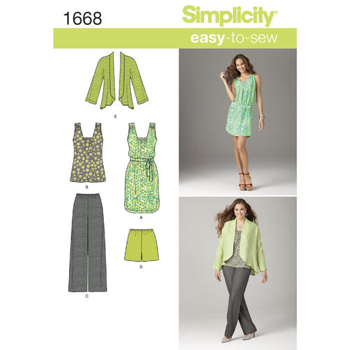 Simplicity Pattern 1668 Misses Separates in Sizes XXS to XXL