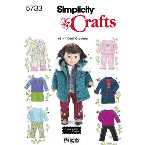"Simplicity Pattern 5733 18"" Doll Clothes"