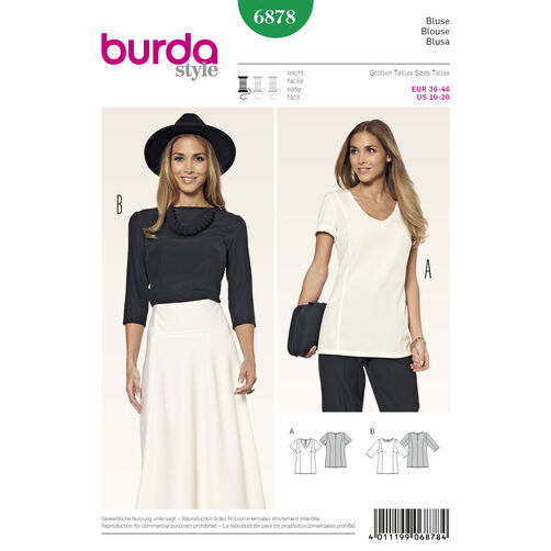 Burda Style Pattern 6878 Tops, Shirts, Blouses