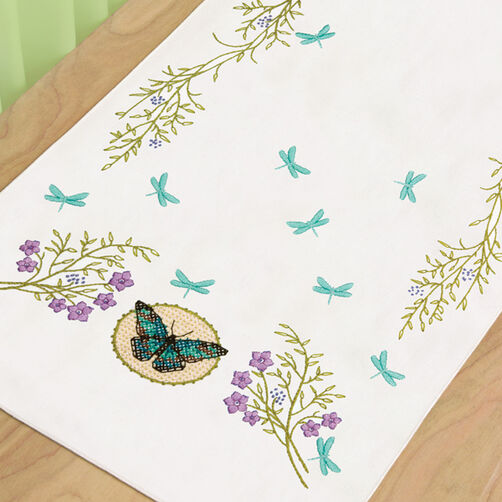 Butterfly Meadow Dresser Scarf Stamped Cross Stitch_72-73889