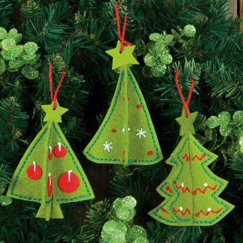 3D Tree Ornaments in Felt Applique_72-08192
