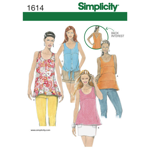 Simplicity Pattern 1614 Misses' Tops with Back Details