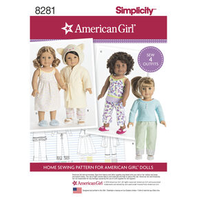 "Simplicity Pattern 8281 American Girl 18"" Doll Clothes"