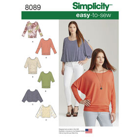 Simplicity Pattern 8089 Misses' Easy-to-Sew Knit Tops