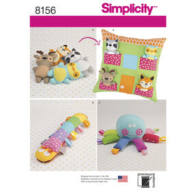 Simplicity Pattern 8156 Stuffed Animals with Pillow House and Stuffed Toys