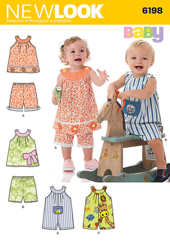Babies' Top, Shorts and Romper