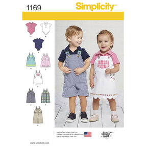 Simplicity Pattern 1169 Babies' Overalls, Jumper and Bodysuit