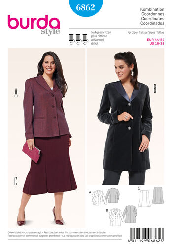 Burda Style Pattern 6862 Plus to Size 60