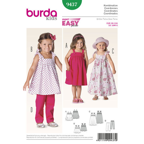 Burda Style Pattern 9437 Toddlers