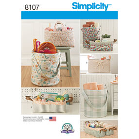 Simplicity Pattern 8107 Bucket Basket And Tote Organizers