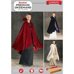 Simplicity Pattern EA494701 Premium Print on Demand Misses' Costume Capes