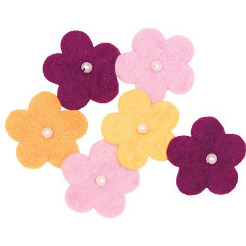 Wool Felt Flowers with Pearls_73311