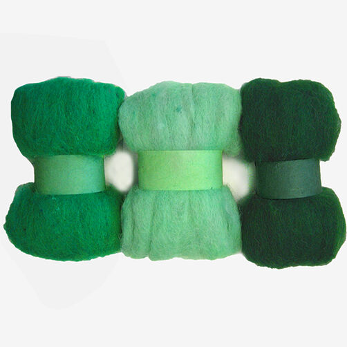 Greens Wool Roving Trio, Needle Felting_72-74013