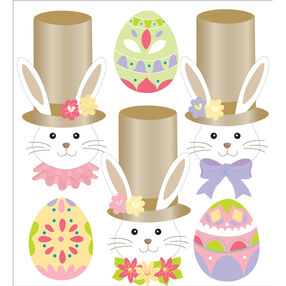 Glitter Bunny And Eggs Stickers_50-20556