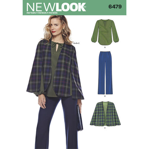 New Look Pattern 6479 Misses' Tunic, Pants and Cape