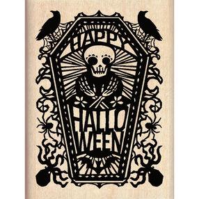 Happy Halloween Skeleton Wood Stamp_60-00999