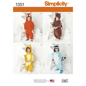 Simplicity Pattern 1351 Toddlers' Animal Costumes