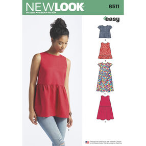 New Look Pattern 6511 Misses' Tops With Length and Sleeve Variations