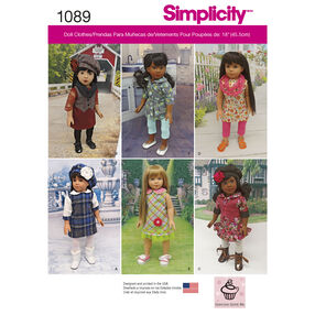 "Simplicity Pattern 1089 Doll Clothes for 18"" Dolls"
