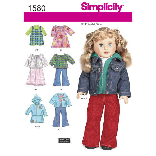 Simplicity Pattern 1580 Doll Clothes