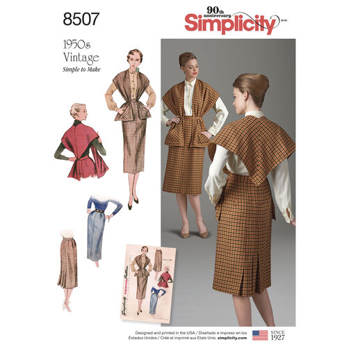 Simplicity Pattern 8507 Misses' Vintage Skirt and Stole