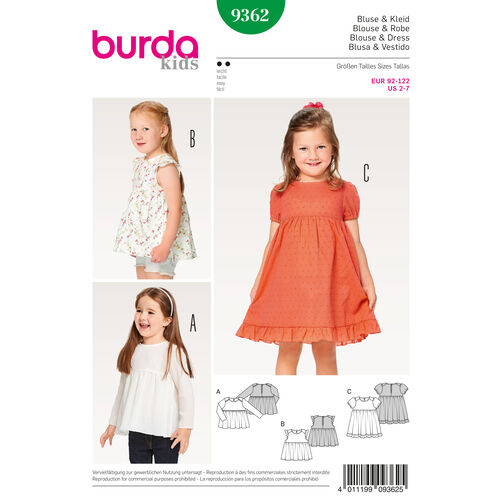 Burda Style Pattern B9362 Child Dress, Blouse and Skirt