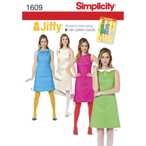 Simplicity Pattern 1609 Misses' Jiffy 1960's Vintage Dress