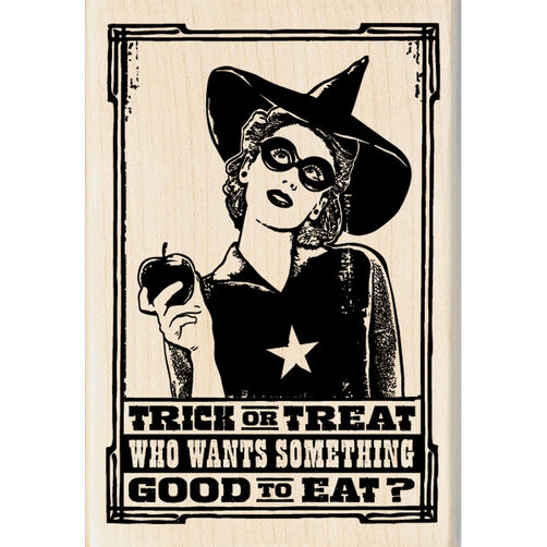 Trick or Treat Witch Wood Stamp_60-00817