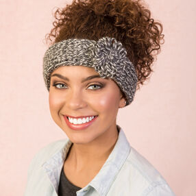 Loom Knit Heather Headband with Flower Accent