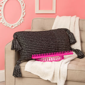Loom Knit Tasseled Pillow