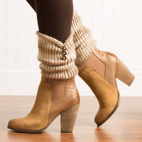 Loom Knit Button Trim Boot Cuffs
