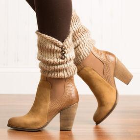 Loom Knit Button Trim Boot Cuffs