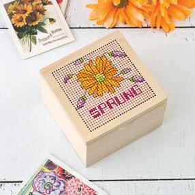 Cross Stitch Daisy Trinket Box