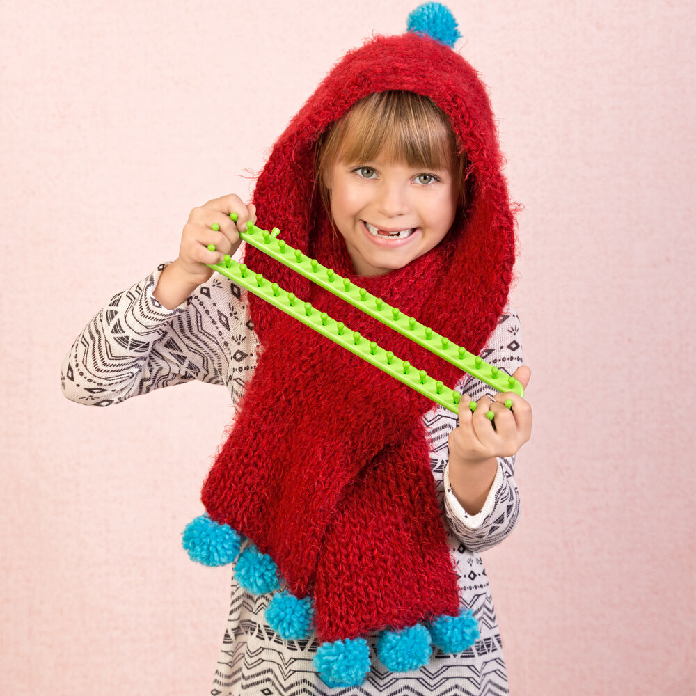 Loom Knit Childs Hoodie Scarf Boye and Simplicity