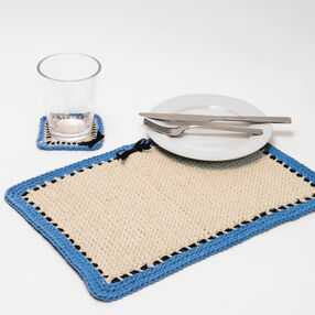 Crochet Afghan Stitch Placemat and Coaster