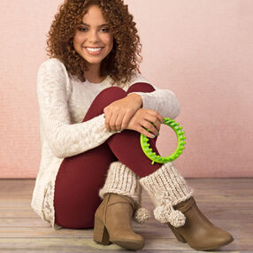 Loom Knit Boot Cuffs with Pompoms