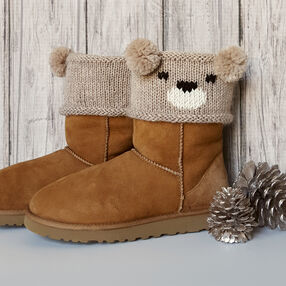 Knit Teddy Bear Boot Toppers