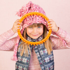 Loom Knit Child's Hat with Braids
